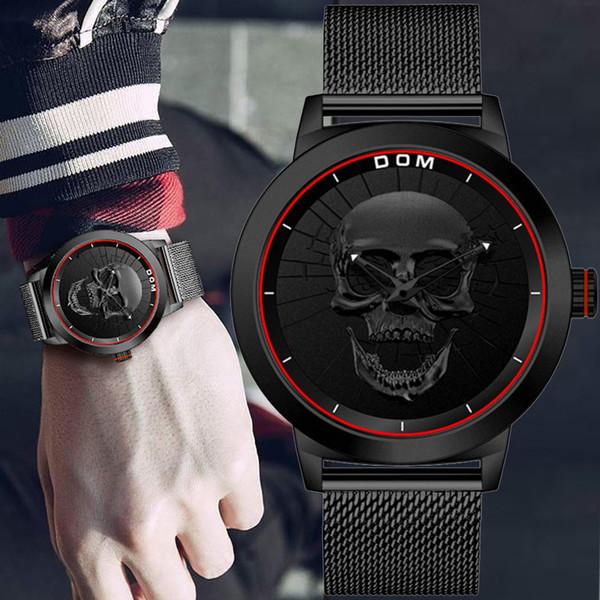 DOM Hombre Punk 3D Cráneo Relojes Hombres Marca de Lujo Deportes de Cuarzo  Militar Acero Reloj 30c3a9aea113