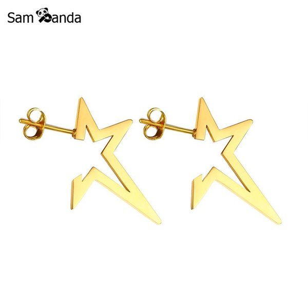 New Arrival Hollow Opening Star Earrings Punk Stud Earring Stainless Steel Gold Color Earings For Women Fine Jewelry Brincos