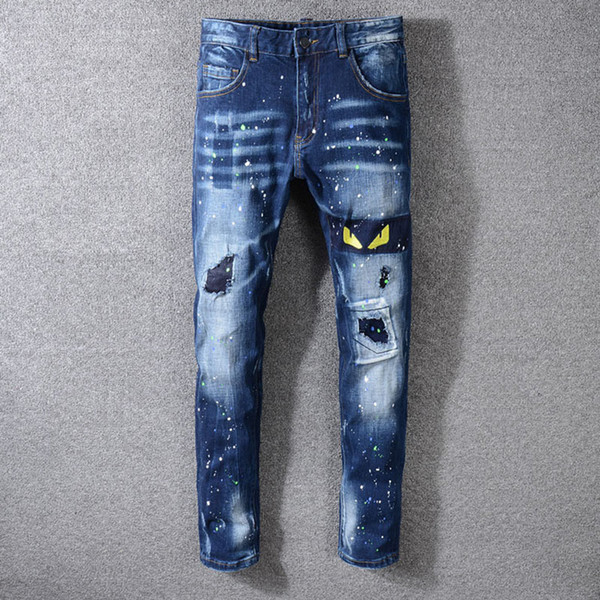 2019 New Mens Jeans Fashion Mens Designer Jeans Casual Pants Loose Trousers Designer Jeans Size 28-40 / Free Shipping