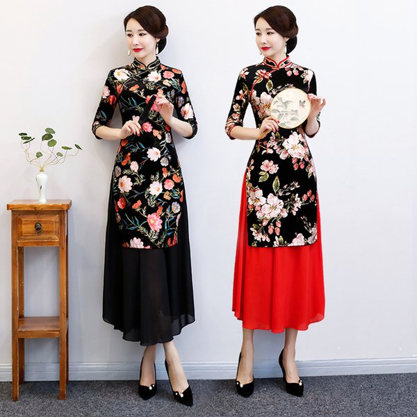 2019 AO Dai Long Cheongsam Novità Stile cinese Vestito Primavera Donna Velour Qipao Slim Abiti da festa Lady Button Vestido S-3XL
