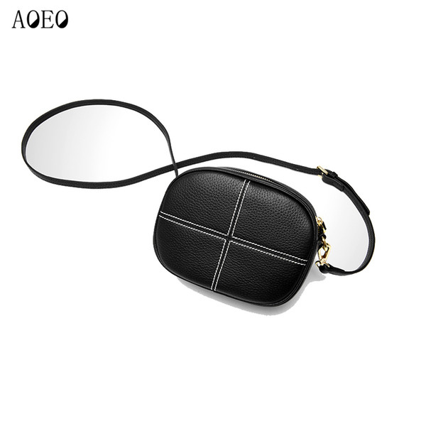 Aoeo Woman Shoulder Bags Genuine Leather Real Ladies Soft Touch England Style Messenger Bags Women Small Mini Phone Bag Female Y19061903