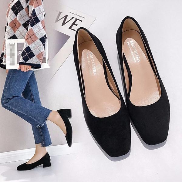 EOEODOIT Женщины Насосы площади Мода Toe Низкий Chunky пятки скользят по Повседневный Lady офиса обувь лето осень Daily 3.5