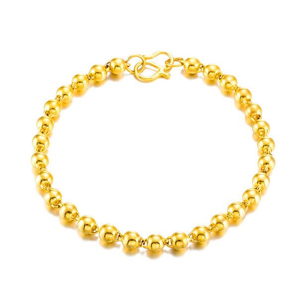 Luxury 24 K golden surface beads beads bracelet K gold transport round bead placer gold bracelet & women do not fade