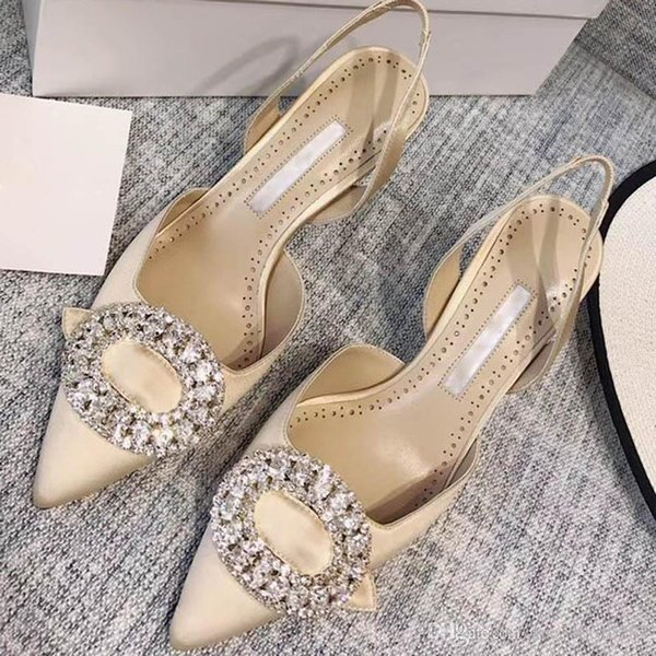 Spring Genuine Leather Austria Drill Baotou Thin Heels Waterproof Shoes Female Pure Hand Pleated Sexy High Heels Women 's Half Slippers