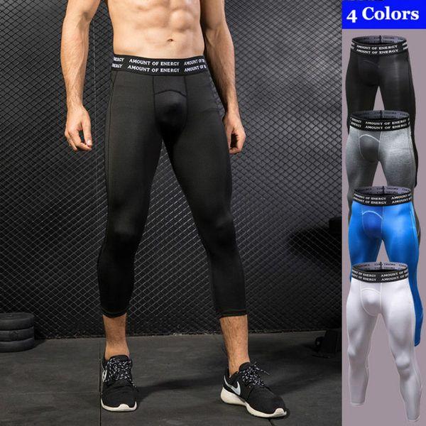 Hombres Correr Medias Pantalones Cortos de Compresión Leggings Deportivos de Alta Elástica Seca Rápida Gimnasio Fitness Ropa Deportiva Pantalones de Yoga de Entrenamiento