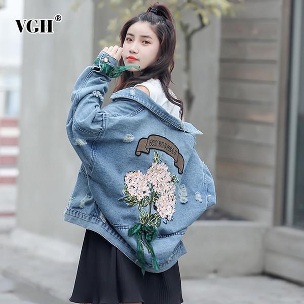 VGH Printemps Denim Veste Revers Puff Manches Boutonnées Poches Frangées Retour Broderie Imprimer Mince Femmes Manteau 2019 Mode Coréenne Nouveau