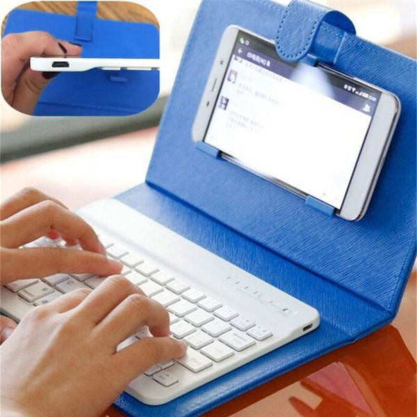 Cas de clavier universel Portable en cuir PU pour iPhone téléphone mobile de protection avec clavier Bluetooth pour iPhone