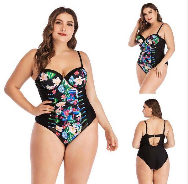 Wholesale 2019 Obesity Swimming suit one piece EU size L-3XL Printed bikini with Steel bracket 3color fat bikini