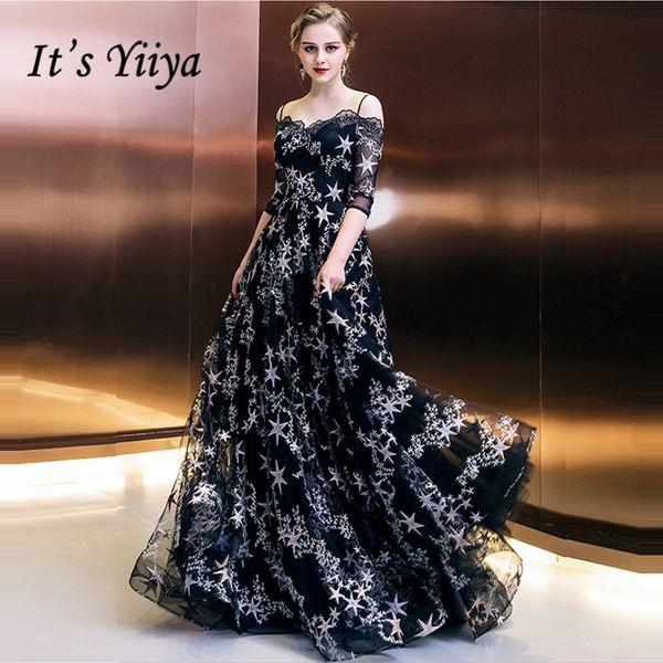 It's Yiiya Formal Evening Dresses Boat Neck Half Sleeve Black Stars Prints Floor Length Fashion Designer Formal Dress