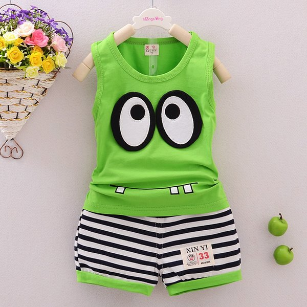 good quality Infant Summer Baby Clothing Sets Boy Vest T-shirt+Shorts Pant 2Pcs Kids Summer Outfits Set Toddler Cartoon Striped Suit