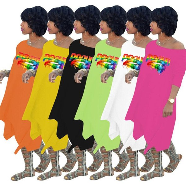 Plus Size Women Long Sleeve Oblique Shoulder Loose Irregular Dress Rainbow Lips Printed Hem Cocktail Maxi Party Dresses Casual Skirt C72308