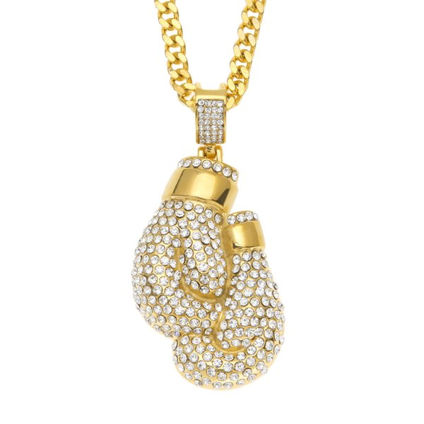 Boxing gloves iced out pendant necklace high-end stainless steel Hip-Hop jewelry for men in Unites States and Europe