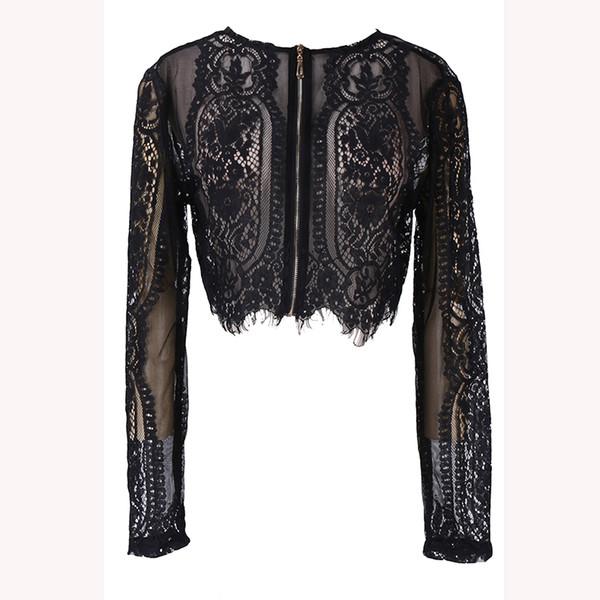 hellogoodgirl / Primavera Negra Verão Lace Mulheres Tops Out oco shirt de manga comprida Blusa Sexy Lady Lady Escritório