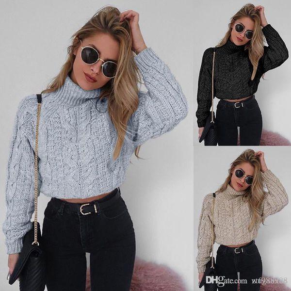 Miyahouse estilo simple cuello de cuello alto de punto suéteres de las mujeres de algodón sueltos suéteres de primavera para mujer color sólido