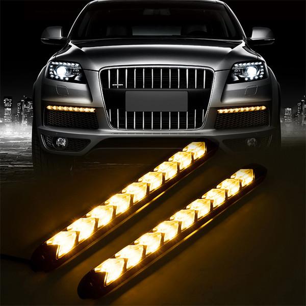 HOT Car LED DRL Tiras de luz de señal de giro Impermeable Luz diurna Running Frash Flow Tube Tira flexible Flecha de advertencia Lámpara DRL 2PCS