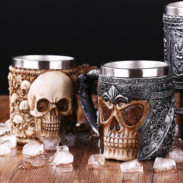 Boccale di birra in drago in resina in acciaio inossidabile con retro teschio Knight Tankard Halloween Tazza di caffè Realistica Tazza da vichingo Decorazione da bar per pub
