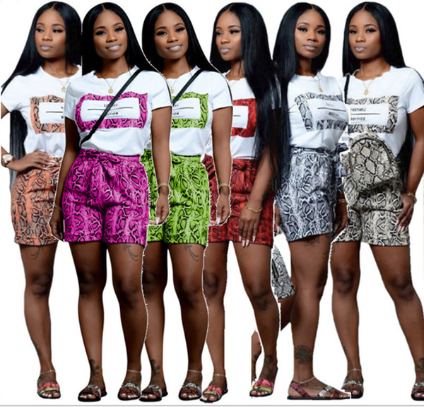 Women casual 2 piece set Snake skin print t-shirt shorts bandage crew neck short sleeve pullover above knee summer clothing plus size 828