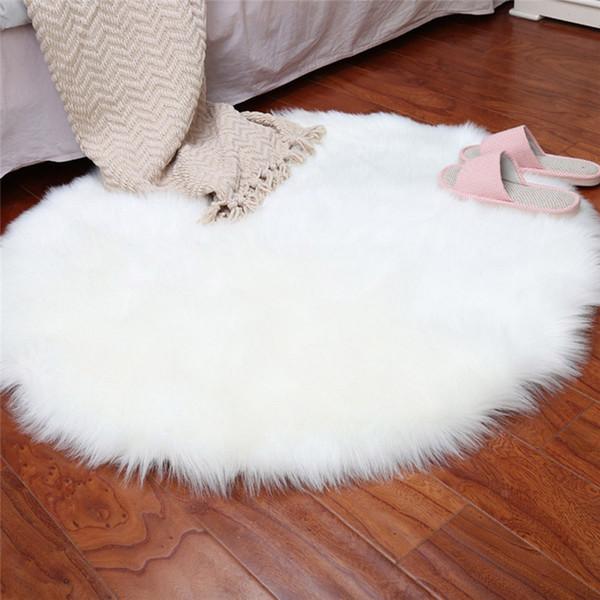 Morbido artificiale Lana sedia della copertura di pelle di pecora Tappeto artificiale caldo Hairy Carpet sede del rilievo Bianco Opaco Per Soggiorno