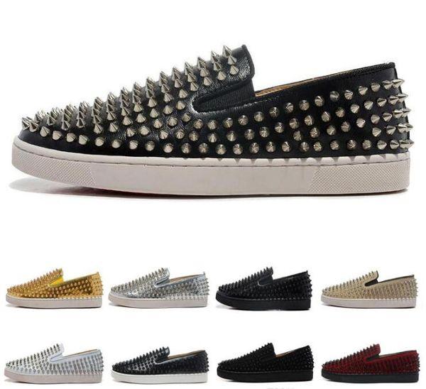 Venda quente-ACE DESIGNER designer de moda rebites sapatos baixos fundo vermelho calçados casuais homens e mulheres partidos casal calçados esportivos de couro baixo estado