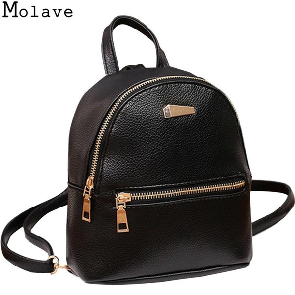 MOLAVE Fashion Women Mini Backpack PU Leather College Shoulder Satchel School Rucksack Ladies Girls Casual Travel Bag 19.sep.30 #32969