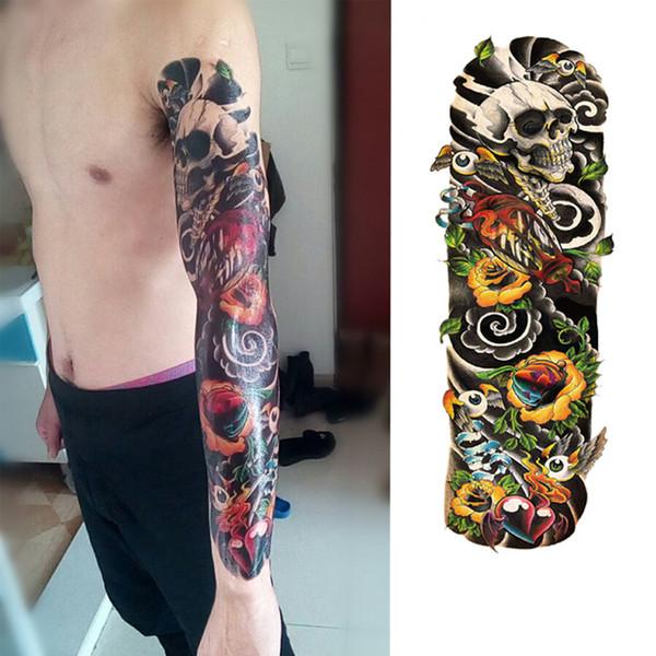 Tattoo Masculinas 1 Peça Natural Da Vida Tatuagem Temporária Etiqueta Planta Rosa Flor Cheia De Tatuagem Com Braço Body Art Grande Grande Falso