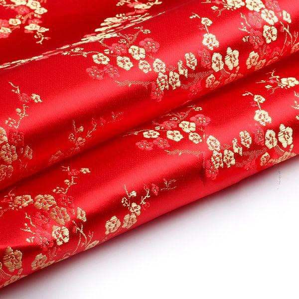 2019 Hot Sell Brocade cloth festive costume han fu COS clothing cheongsam fabrics/brocade - red background gold plum blossom