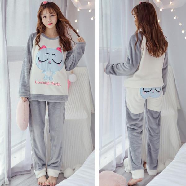 Cinza Dos Desenhos Animados Mulheres Coral Pijama Pijama Set Outono Inverno Quente 2 PCS Pijamas Longo Manga Roupas Para Casa Suave Nightwear