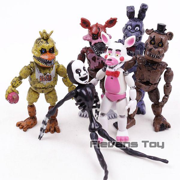 Fnaf Cinco Noites No Pesadelo Freddy Chica Bonnie Funtime Foxy Pvc Figuras de Ação Brinquedos 6 pçs / set J190508