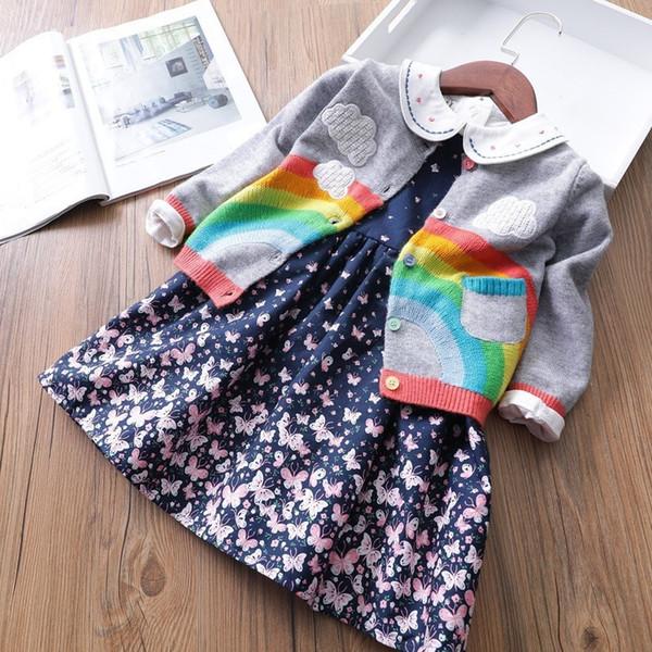 Frühling und Herbst-Baby-Strickjacke Wolke Regenbogen-Muster-Mädchen-Strickjacke Art und Weise Baumwolle Tasche 2 3 4 5 6 7 Y-Kleinkind-Mädchen-Kleidung