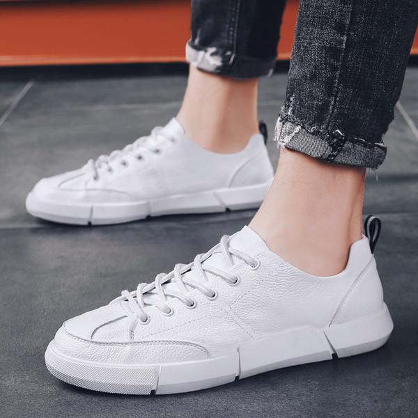 reloj 16e19 57f8a Compre Zapatillas De Deporte Blancas Para Hombre Zapatillas De Cuero  Genuino Hombre Deporte Moda Casual Zapatos Negros Con Cordones Hombre  Jóvenes ...