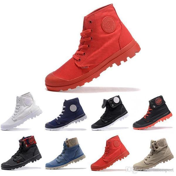 Navio Nova Gota PALLADIUM Pallabrouse Homens de Alta Do Exército Tornozelo Militar dos homens das mulheres botas de Lona Tênis Casuais Homem Anti-Slip Sapatos de grife 36-45