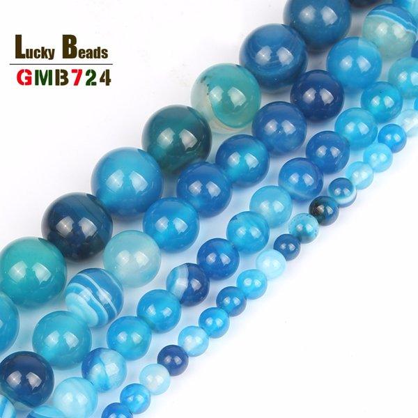 cuentas al por mayor lisa azul estriado flojo de los granos redondos Onyx Agates Para fabricación de la joyería collar 15.5inch / Strand tamaño de la selección 4 6 8 10 12 mm-F00064
