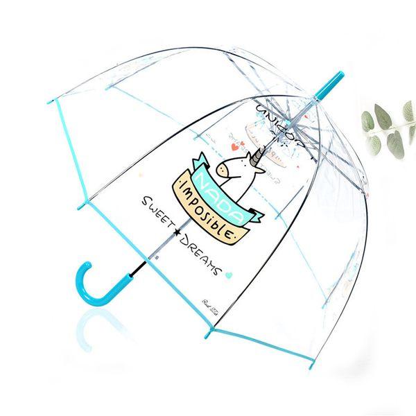 SAFEBET lindo unicornio paraguas transparente coreana mango largo semi automática Apolo Arco panda de la historieta del búho Paraguas Dropshipping