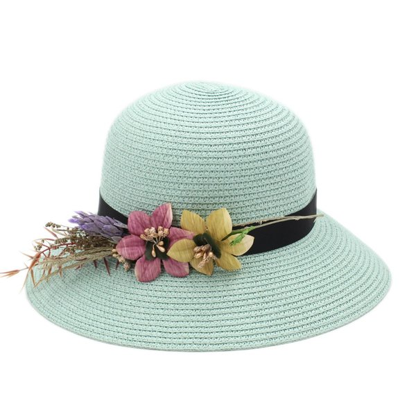 Floppy Brim Women's Ladies Straw Cloche Hat Summer Beach Bowler Sun Cap DIY Flower Hatband