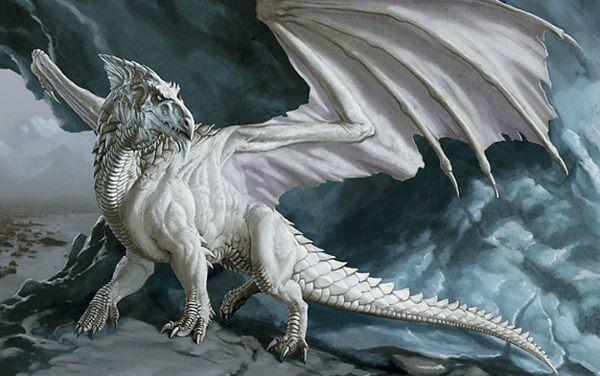 Mitolojik Beyaz Ejderha onun Mağarasında Sanat İpek Baskı Poster 24x36 inç (60x90 cm) 088