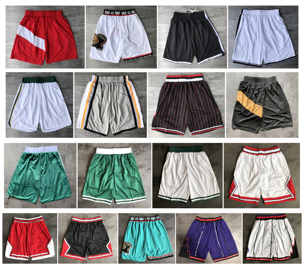 top popular Top Quality ! 2019 Team Basketball Shorts Men Shorts pantaloncini da basket Sport Shorts College Pants White Black Red Purple Green 2020