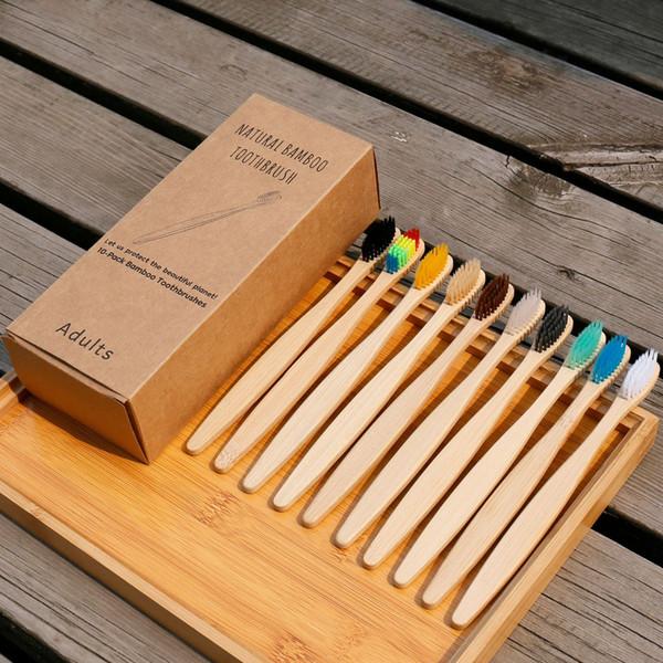 Doğal Bambu Kömür Diş Fırçası Ağız Bakımı Sağlık Aracı Aile Seyahat Diş Fırçaları Bambu Kolu Temizleme Diş Fırçası 10 renk GGA2574