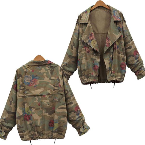 New Women Jackets Fashion Vintage Camouflage Batwing Sleeve Denim Jacket Flower Printed Zipper Coat Autumn Winter Clothing
