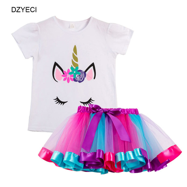 Unicorn Rainbow Lace Dresses For Baby Girl Frock Clothes Summer Kid T Shirt+TUTU Skirt 2PC Outfit Children Cartoon Print Tunic Clothes