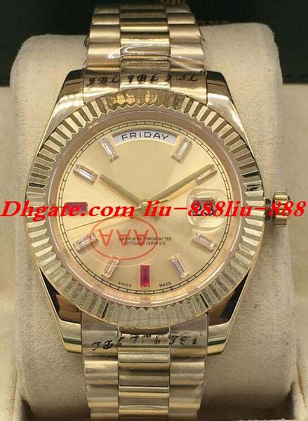 Reloj de lujo 3 estilo para hombre II 18k oro 41 mm Diamond Ruby Watch Box / Papeles 218235 Fecha automática de moda Relojes para hombres Reloj de pulsera