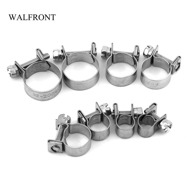 best selling Freeshipping 10pcs Lot Wire Hose Clamps Mini Fuel Line Pipe Hose Clips Stainless Steel Plumbing Fastener Tube Clip Tools Set 6-20mm