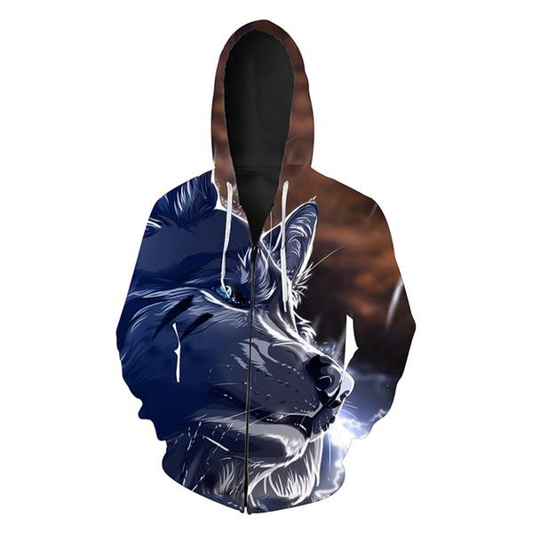 Men Zipper Hoodie Wolf Head 3D Graphic Full Print Man Zip Hooded Sweatshirt Unisex Casual Hoodies Long Sleeves Sweatshirts Tops (R406)