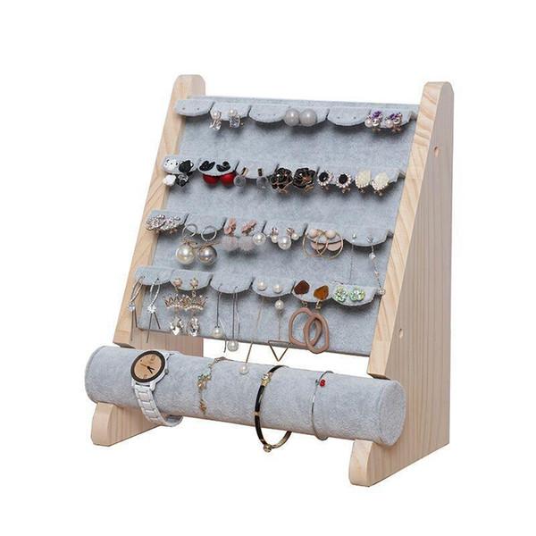 Exhibición de la joyería soporte de madera pendiente de la pulsera titular de la T-Barra de visualización de las pulseras para el tobillo stand de joyería