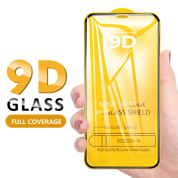 9D protetor de tela de vidro temperado para iPhone 11 Pro max Xs Max X XR cobertura completa Glue Film Para Samsung S10 A50 M20