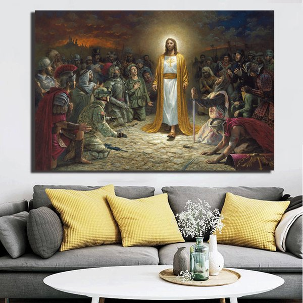 Christ In Gethsemane Jesus Stained Glass FlagellationArt Canvas Poster Painting Wall Picture Print For Living Room Home Bedroom Decoration
