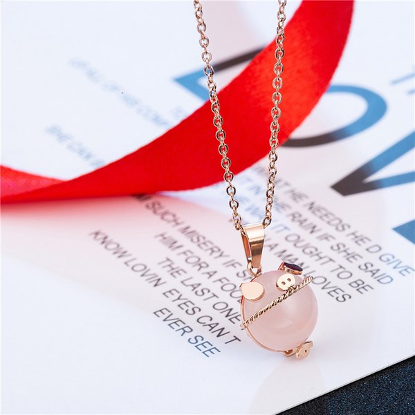 2018 Holiday Gift Pink Animal Cute Pig Stone Pendant Necklace Rose Gold Stainless Steel Chain Necklace for Sale