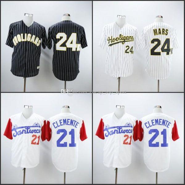 Hooligans Bruno Mars 24 K Bianco Awards Gessato Santurce Crabbers #21 Roberto Clemente Throwback Baseball Hot Stitched Shirts Size S-3XL