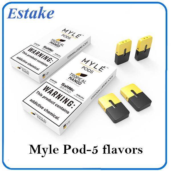 100% d'origine Myle vide Pod SaltsNic cartouches 0,9 ml de sel Nic coupelles de rechange pour l'appareil myle Kits de démarrage 4pcs par paquet