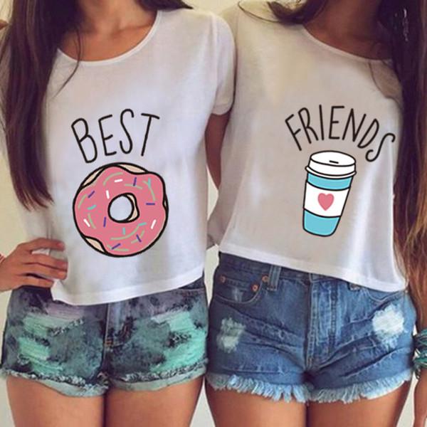 Summer Women Crop Tee New Fashion Women Best Friends Prints T-shirt Short Sleeve O-neck T Shirt