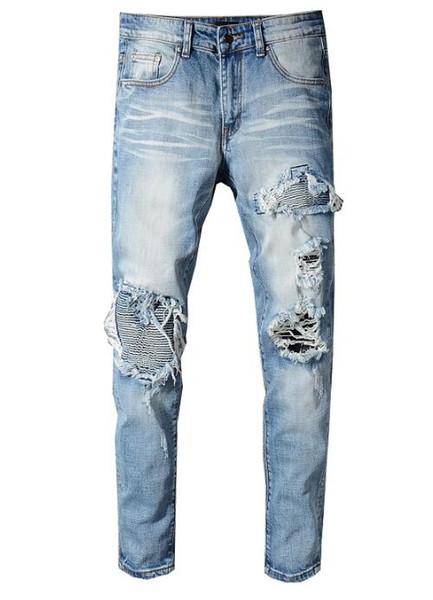 Buracos Hip Hop Mens Designer Casual jeans rasgado afligido Calças justas afiação micro-slim Denim motociclista homem jeans Pants masculino